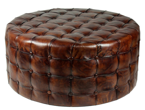 L00030 - Leather Tufted Ottoman