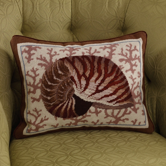 Nautilus Needlepoint Pillow