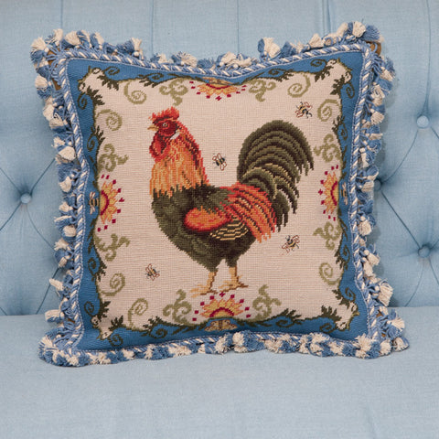 Needlepoint Rooster Pillow