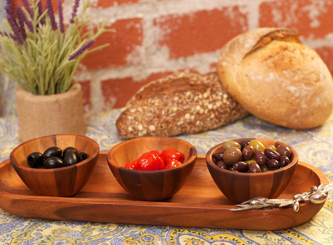 L00545 - Olivewood Baguette Tray with Wood Bowls