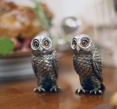 L00775 - Pewter Owls Salt & Pepper Set