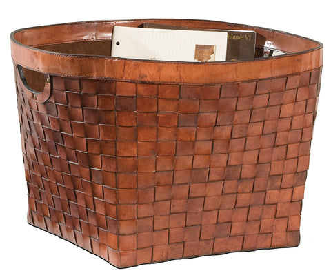 L00040 - Woven Leather Basket