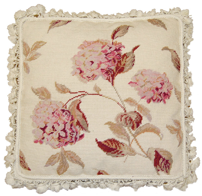 Hydrangea Needlepoint Pillow