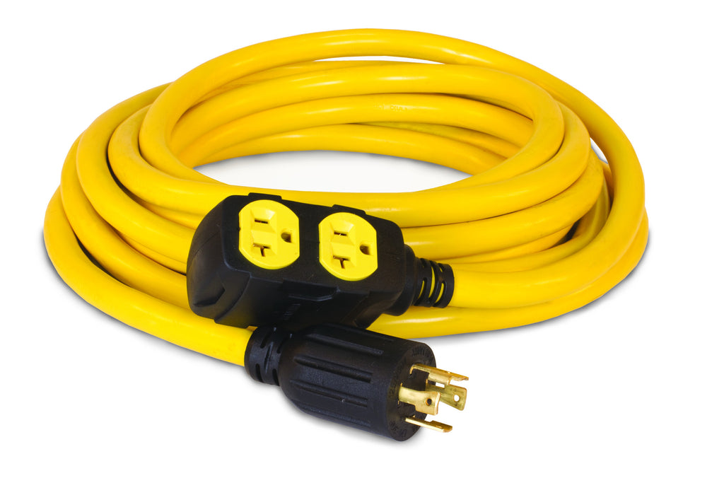 25' Extension Cord, L14-30P to 5-20R (x4)