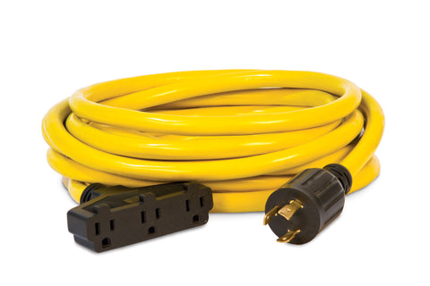25' Extension Cord, L5-30P to 5-15R (x3)
