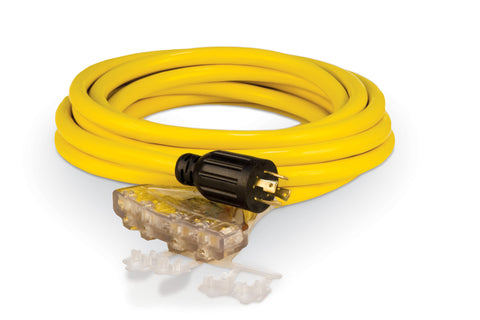 25' Extension Cord, L14-30 to 5-20R (x4)