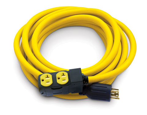 25' Extension Cord, L14-30 to 5-20R (x4) w/ Circuit Breakers