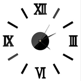 A gloss black wall clock with a circle center and black clockhands with floating roman numerals and lines surrounding it.