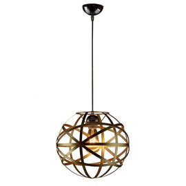 A pendant light with a copper hoop ball lampshade suspended by a black cord with a black base.