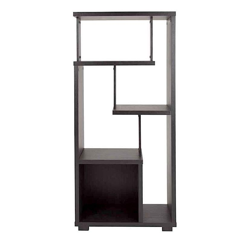 A standing shelf with a dark wooden colour and five shelf sections of different sizes and shapes.