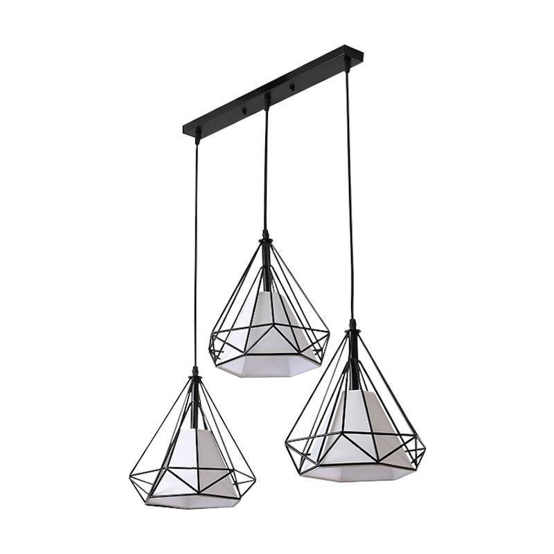 A pendant light with three geometric wire cone shades and a smaller cone-shaped lampshade inside each hanging from a black bar.
