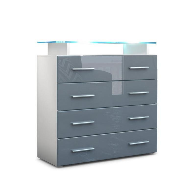 A white cabinet with a grey woodgrain-finish on the four drawers with eight silver handles and a glass shelf on top with a blue LED light.