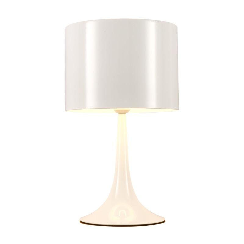 A table lamp with a uniform gloss white appearance with a triangular cone base and broad lampshade.