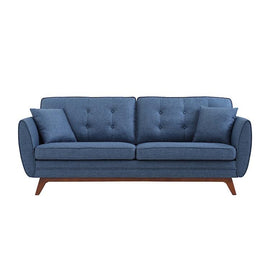 A three seat sofa with denim blue fabric, buttoned backrest and mahogany tinted wooden base.
