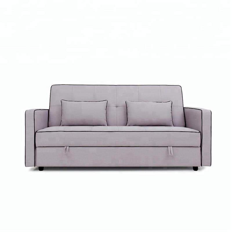A grey lawson-style sofa bed with two scatter pillows and a black line on the fabric border of the sofa.