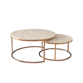 Two round coffee tables with gold, metal frames and marble effect tabletops that have different sizes and intersect.