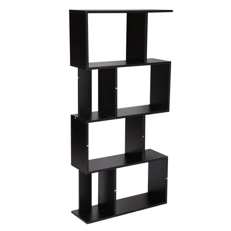 A four-tiered black bookshelf with irregularly shaped divided shelve spaces.