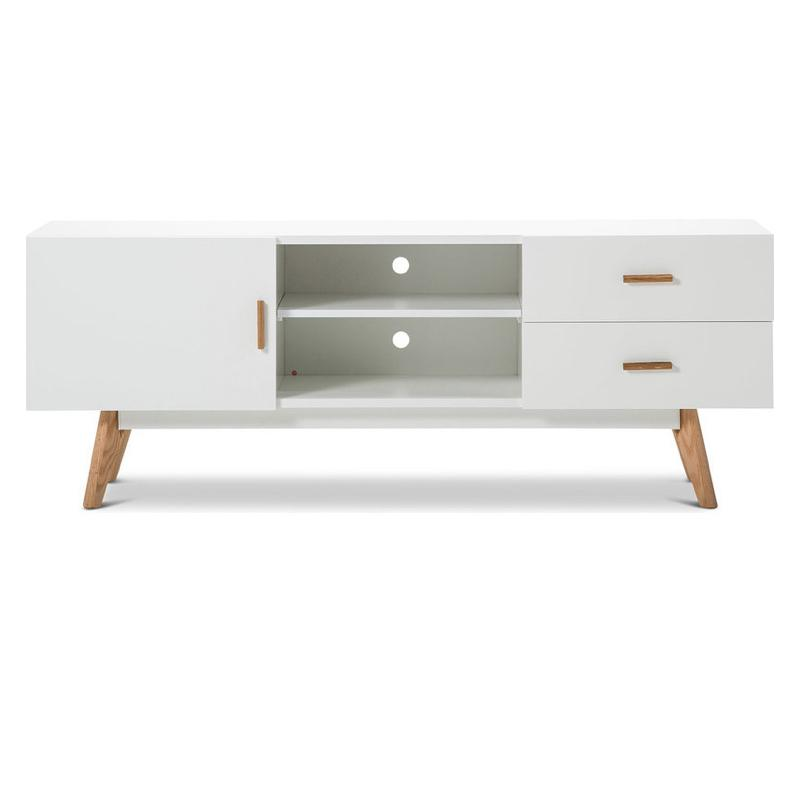 A white tv stand with two shelves, wooden legs and wooden handles on the two drawers and door.