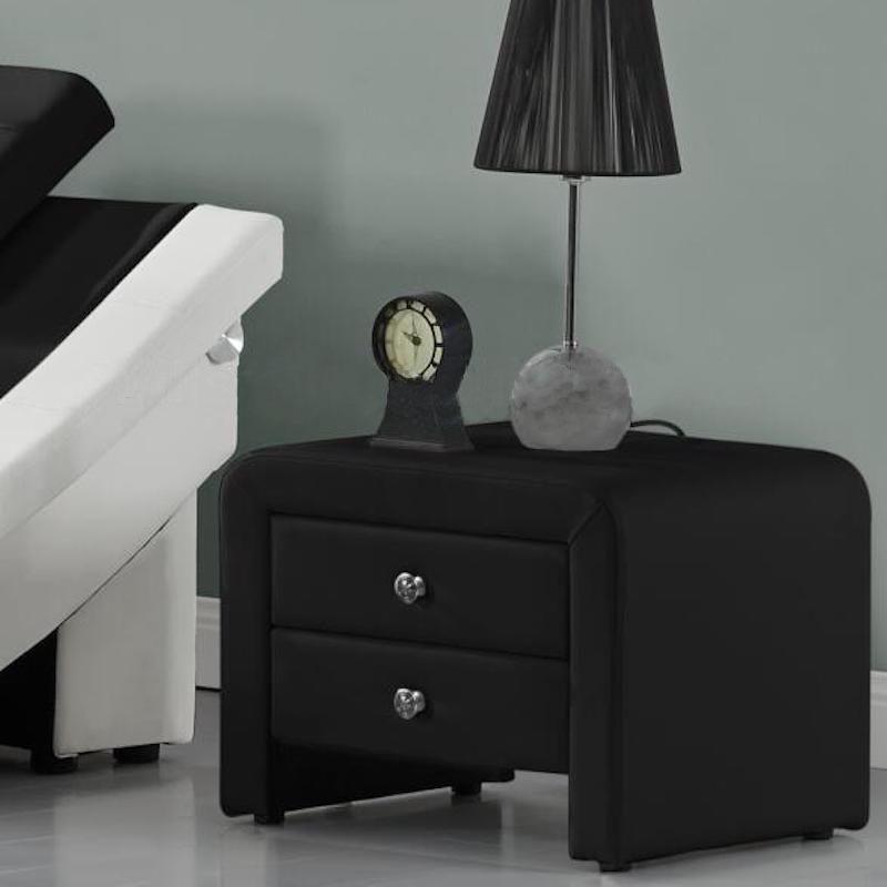 A black upholstered side table with two drawers and small, round silver handles.