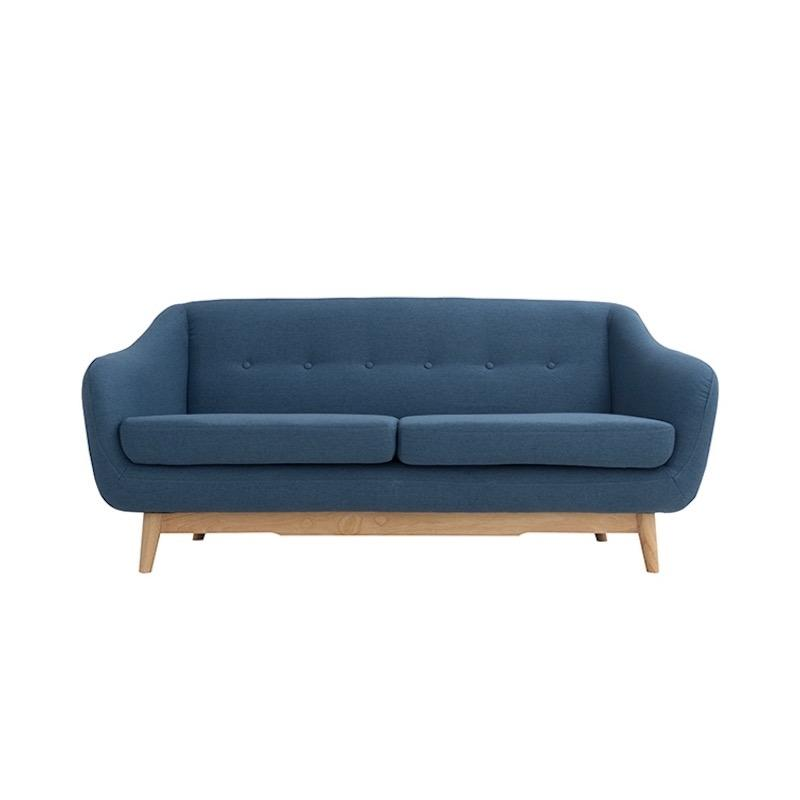 A Mid-Century modern two-seat sofa with blue fabric, a pine coloured wood base and buttons in the backrest.
