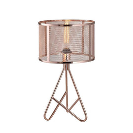 A rose-gold table lamp with a net-pattern metal shade and three triangle-shaped legs.