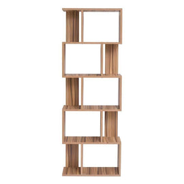 A bookshelf with a mixed wood colour design and five levels of irregularly divided shelf-space.
