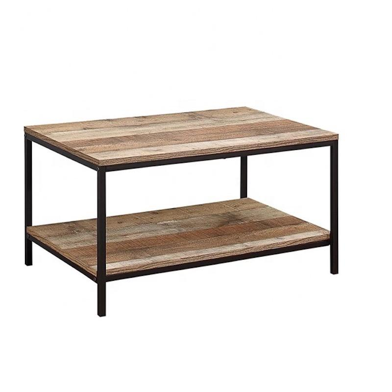 A rectangular coffee table with a black steel frame and a tabletop and low attached shelf made from natural wood-effect planks of various colours.