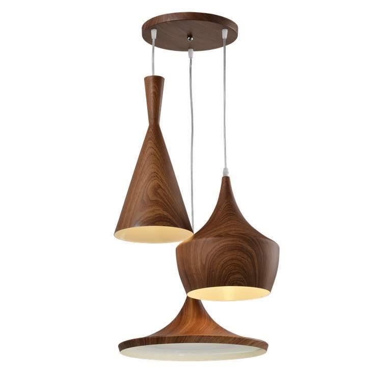 A wooden pendant light consisting of three wood lamp shades in varying sizes hanging at different lengths from a wooden base suspended by white cables.