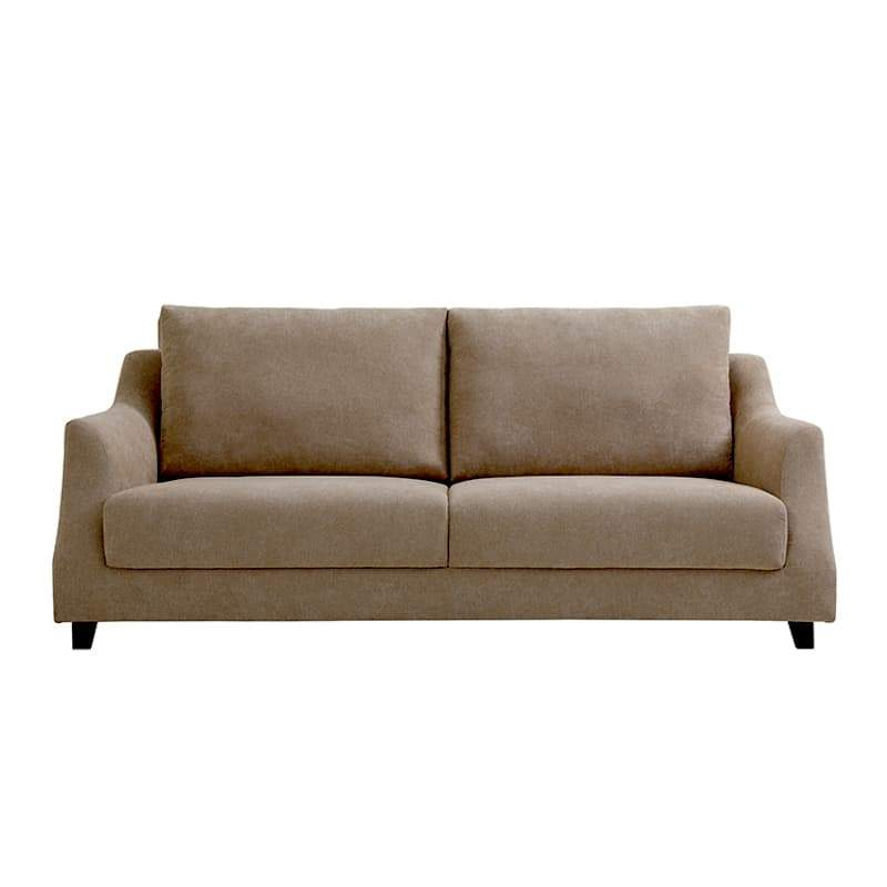 A lawson style brown fabric sofa with curved armrests, padded cushions and short dark wooden legs.