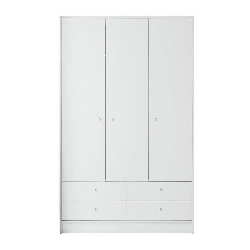 A white wood closet that has three doors and four drawers with small round handles.
