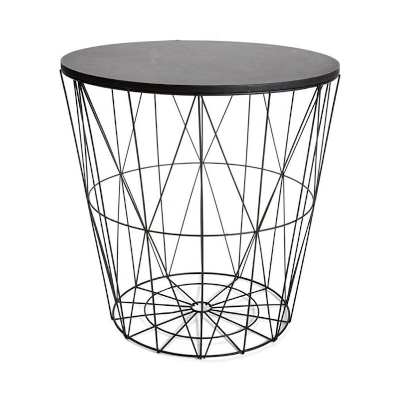 A side table with a black, wood top and basket wire body that narrows towards the base.