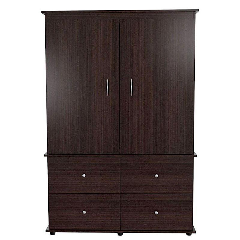 A dark wood closet with two doors, four drawers and silver handles.
