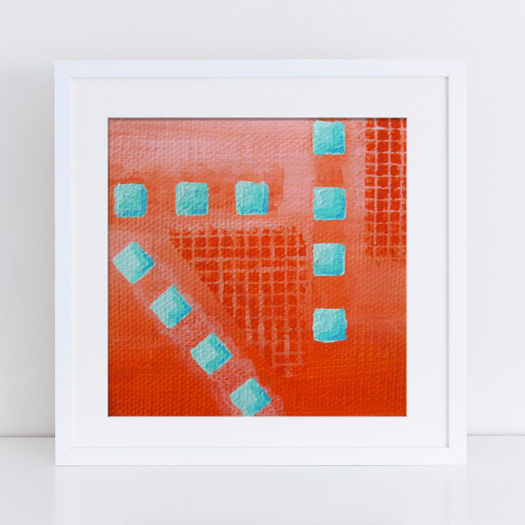 Geometric Art Print in coral and turquoise, abstract art with squares