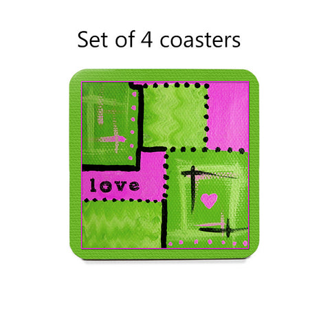 Abstract Love Art Coaster Set in lime green