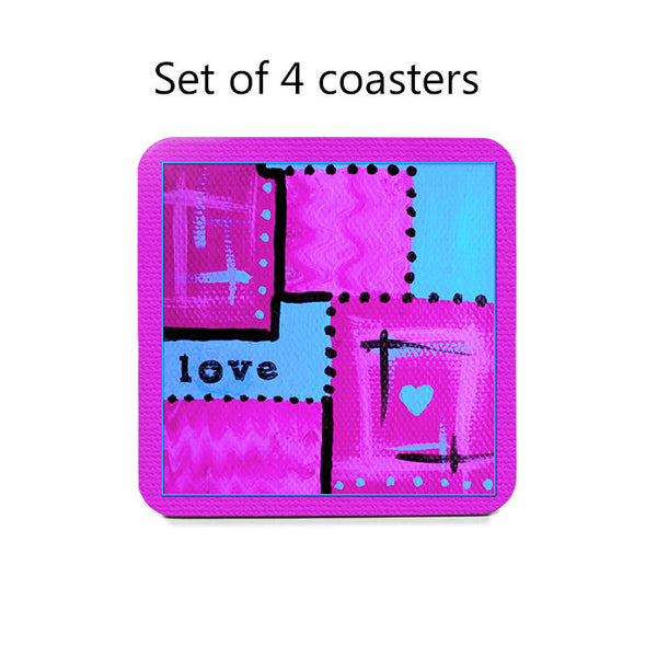 Abstract Love Art Coaster Set in hot pink