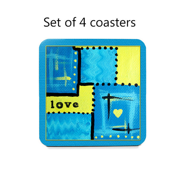 Abstract Love Art Coaster Set in blue