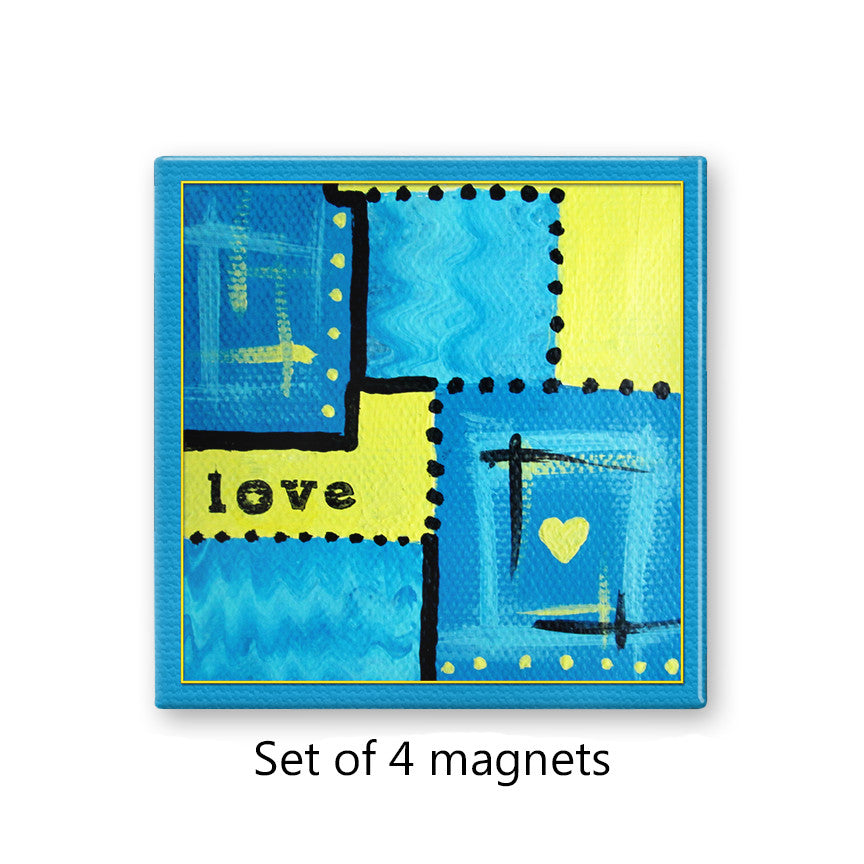 Blue Abstract Love Magnet Set