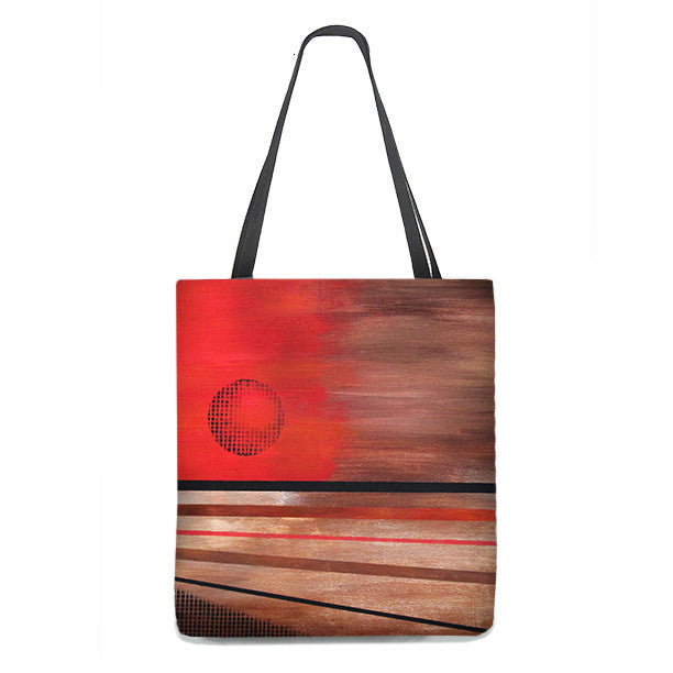 Tote Bag - Abstract Sun art in red, brown and orange