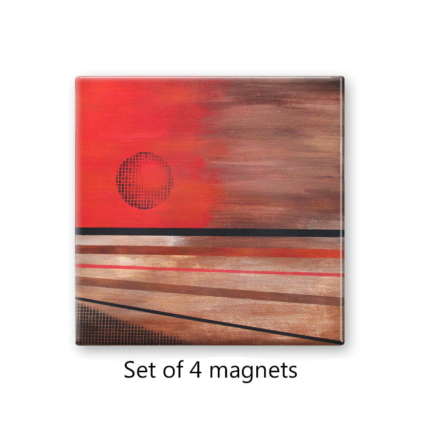 Abstract Sun Set of 4 Magnets