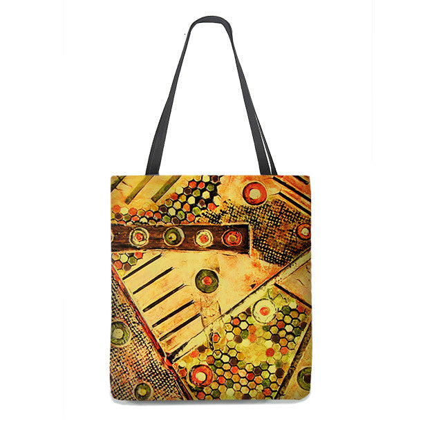 Tote Bag - Abstract textured art in yellow, brown and orange