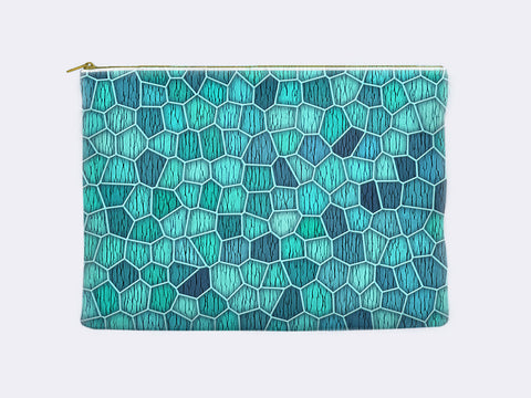 Geometric Carry-All Pouch in aqua