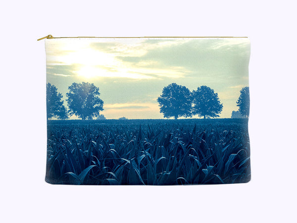 Blue Cornfield Zippered Cosmetic Bag