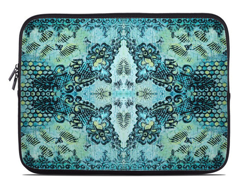 Butterflies and Roses Bohemian Laptop Cover in aqua