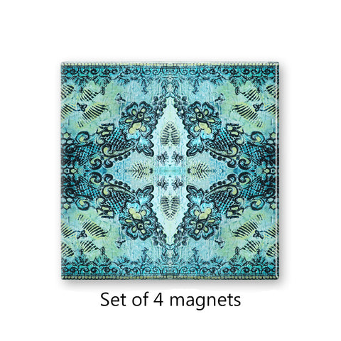 Bohemian Rose Lace Magnet Set in Aqua