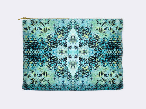 Butterflies and Roses Print Pencil Case in aqua