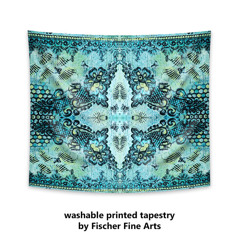 Bohemian Tapestry with roses and butterflies in aqua