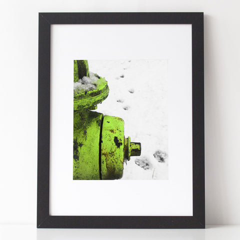 Art Print - Chartreuse Fire Hydrant with Paw Prints in the snow