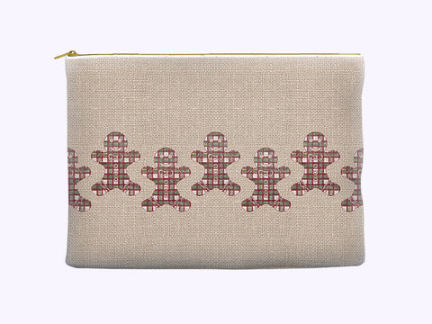 Christmas Cosmetic Bag with plaid gingerbread men