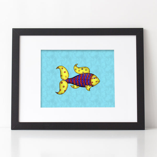 Colorful Fish Print, mixed media art 1