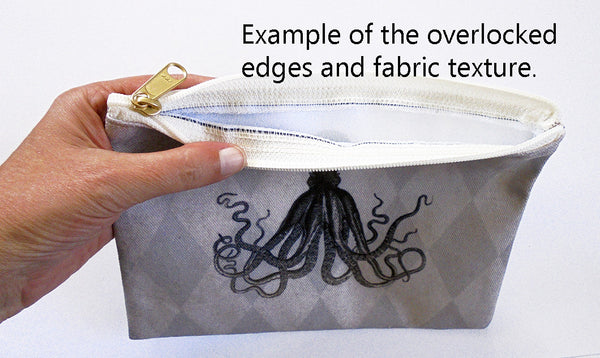 example of zippered pouch stitching